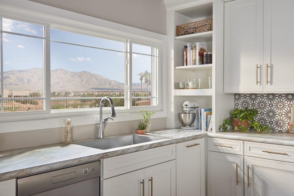 Bay window above luxurious kitchen sink